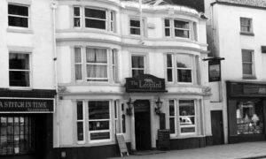 Black and white photo of the Leopard Inn in Burslem